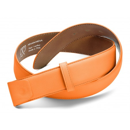 ceintures cuir bombé avec couture orange mandarino