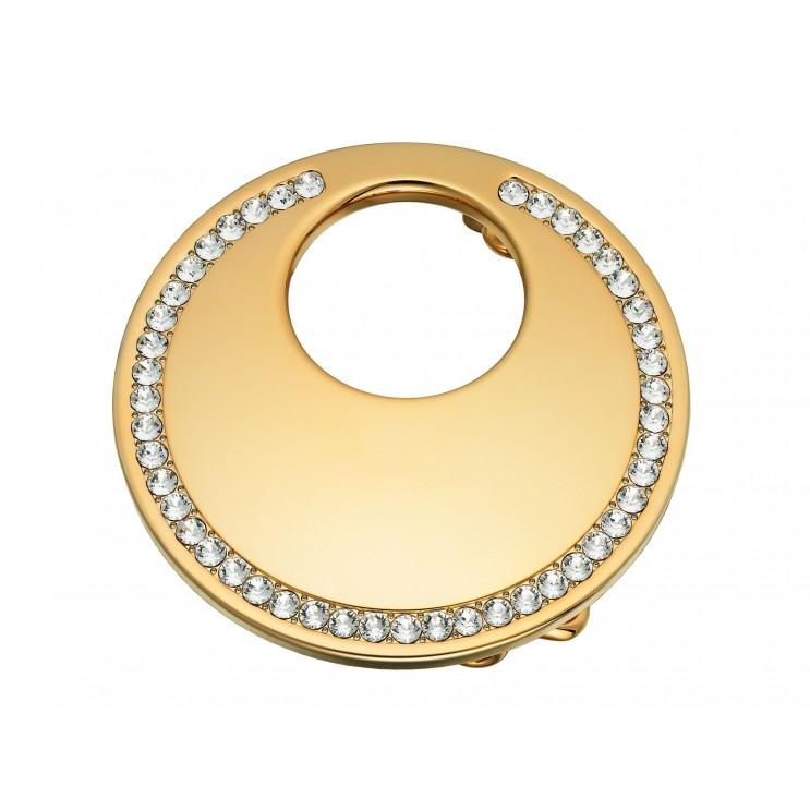 Boucle de ceinture Lune ronde, aspect or jaune avec Swarovski Cry diamant