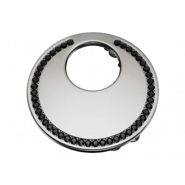 Boucle de ceinture Lune ronde, aspect or noir avec Swarovski noir