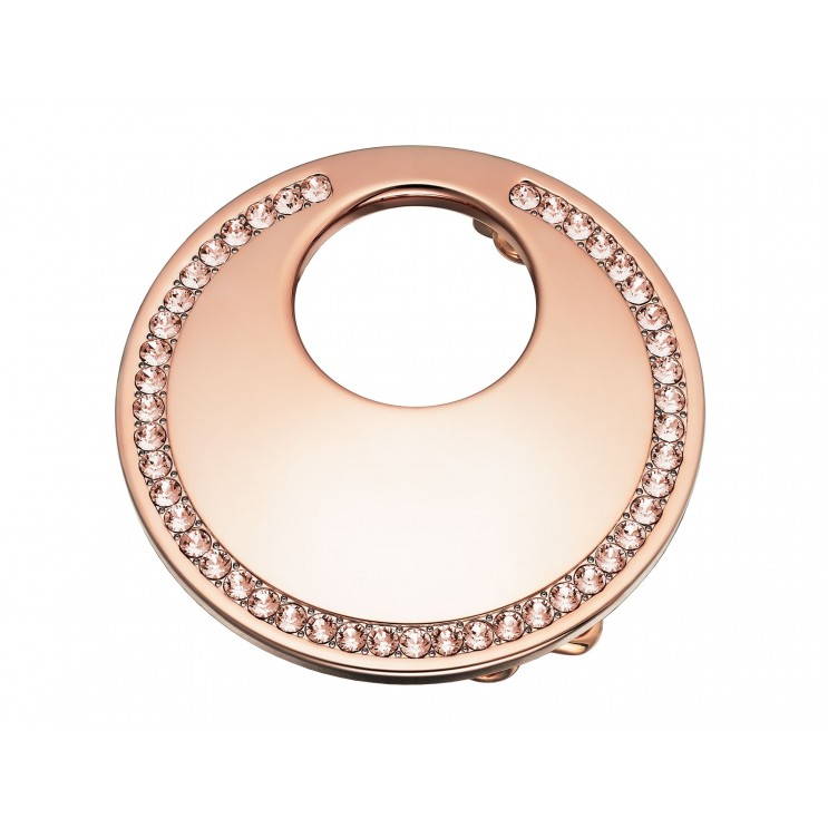 Boucle de ceinture Lune ronde, aspect or rose avec Swarovski Silk rose