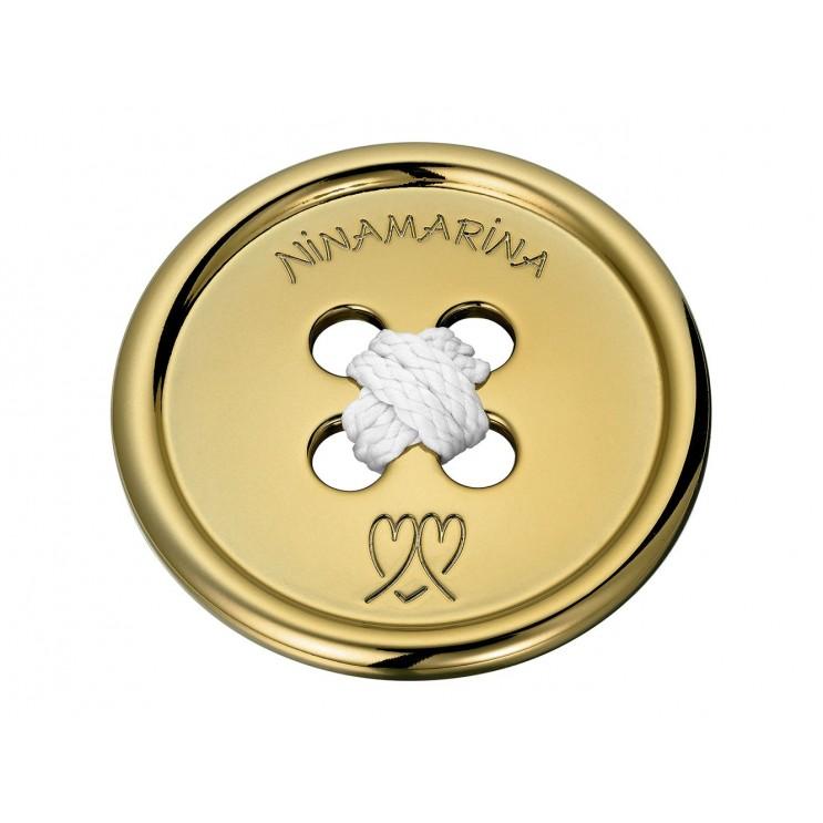 Boucle de ceinture en forme de bouton géant, aspect or jaune
