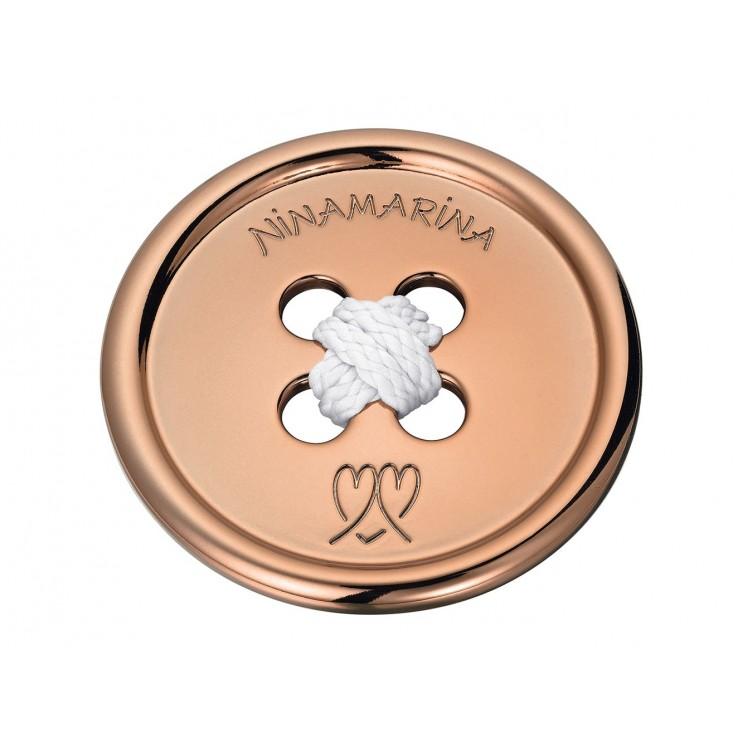 Boucle de ceinture en forme de bouton géant, aspect or rose