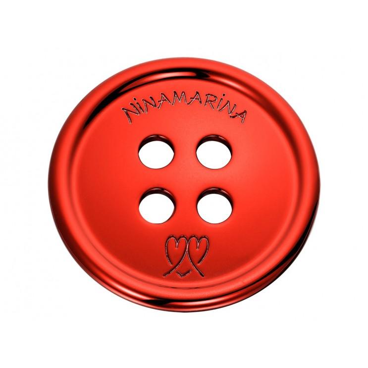 Boucle de ceinture en forme de bouton géant, aspect rhodium rouge