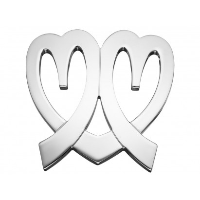 Boucle de ceinture Coeurs Ninamarina, aspect or blanc
