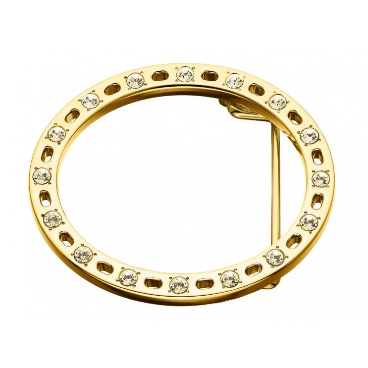 """Boucle de ceinture """"Guêpière"""", aspect or jaune, ornée de 16 Swarovski assortis"""