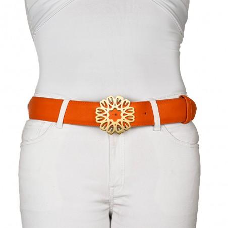 ceintures cuir bombé avec couture orange mandarino portée