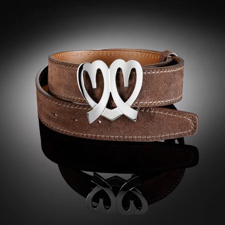 Boucle de ceinture Coeurs Ninamarina, aspect or blanc sur ceinture en daim