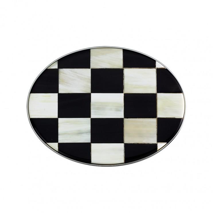 Boucle de ceinture ovale en corne de buffle d'Afrique du Sud, damier ovale noir/blanc