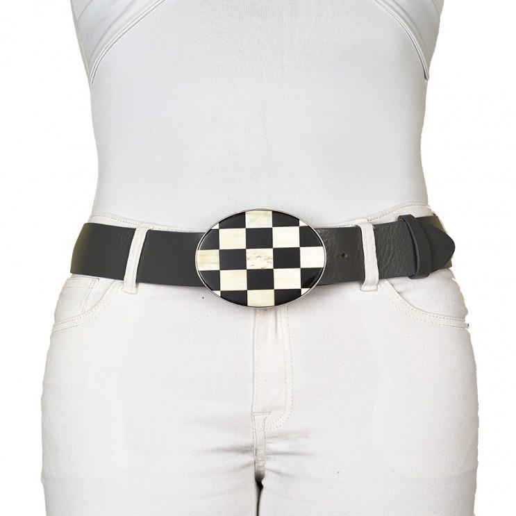 vente pas cher rechercher l'original nouveau style de vie Boucle de ceinture en corne bi-color