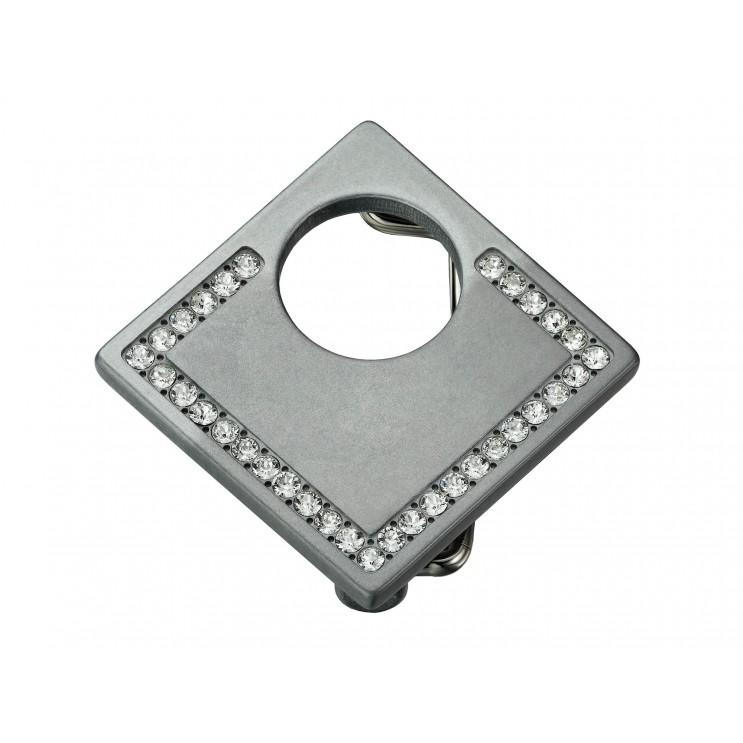 Boucle de ceinture Lune carrée, aspect zamac avec 33 Swarowski Cry diamant